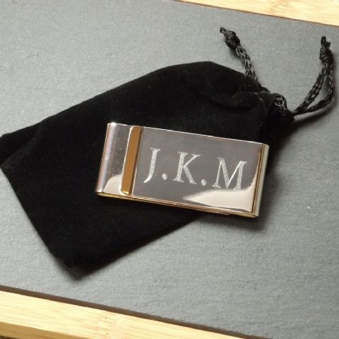 Engraved Money Clip Silver Plated Personalised Best Man Usher Gift
